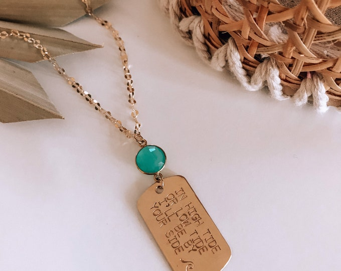New! // In High Tide or Low Tide 14kt Gold Filled Stamped Dog Tag Necklace
