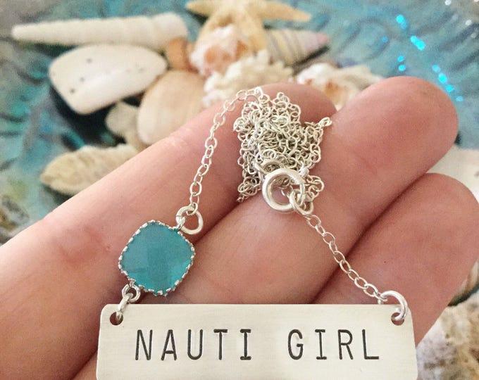 NAUTI Girl Stamped Sterling Silver Bar Necklace Layering Nautical Beach Sea Wedding Bridesmaids Ocean Anchor Vitamin Sea Friend Gift