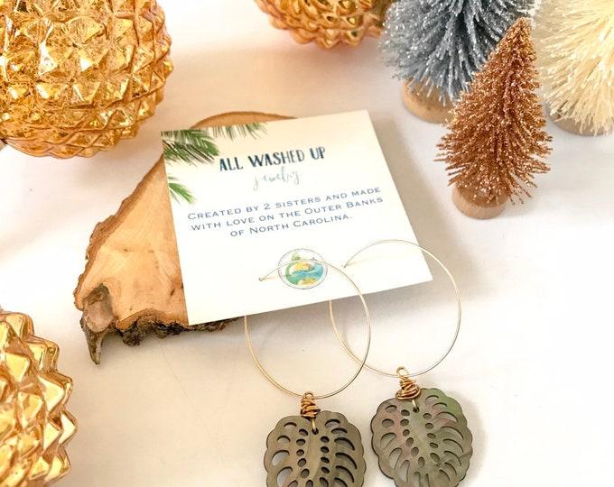 NEW! // Black Mother of Pearl Monstera Leaf Hoop Earrings