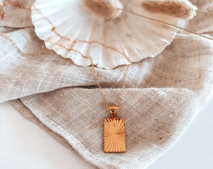 New! // 14kt Gold Filled Starburst Tag Necklace