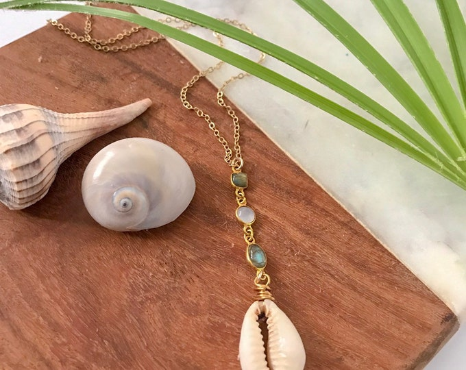 New! // Cowrie Shell Lariat Necklace