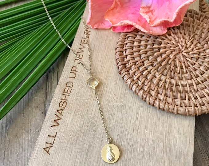 New! // Pineapple Coin Lariat Necklace