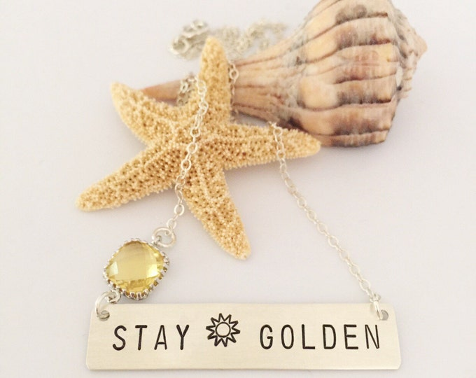 Stay Golden Bar Necklace Sterling Silver Stamped Sunshine Shine Bright  Beach Bridesmaids Friend Gift Outer Banks OBX Wave Sea