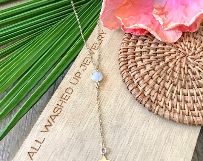 New! // Gold Fill Moonstone Star Lariat Necklace