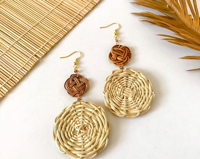 New! // Rattan Woven Disc Earrings