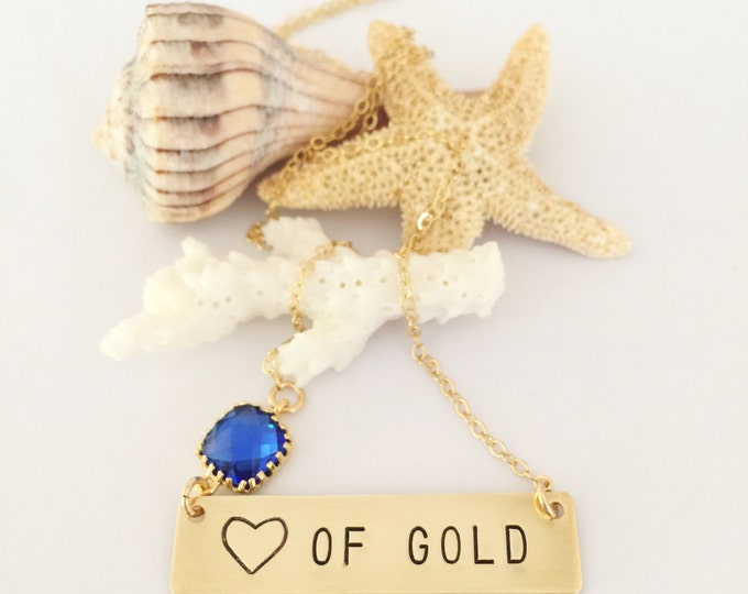Heart Of Gold Stamped goldfill Bar Necklace