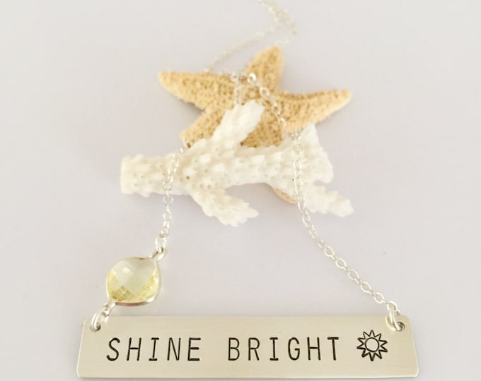 Shine Bright Bar Necklace Sterling Silver Stamped Sunshine Beach Bridesmaids Friend Gift Outer Banks OBX Wave Sea