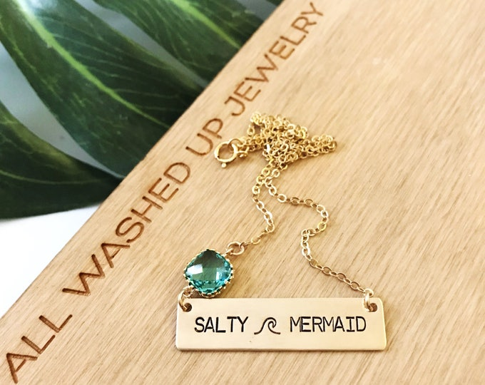 New! // Salty Mermaid Bar Necklace Gold Fill