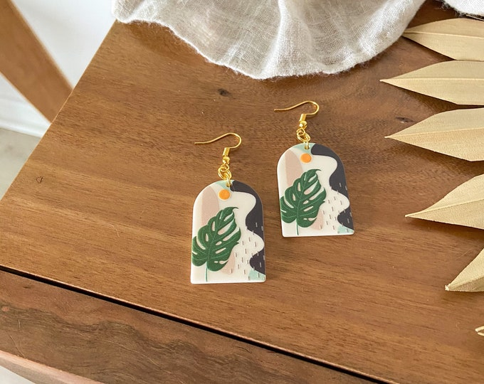 New! // Tropical Acrylic Scene Earrings