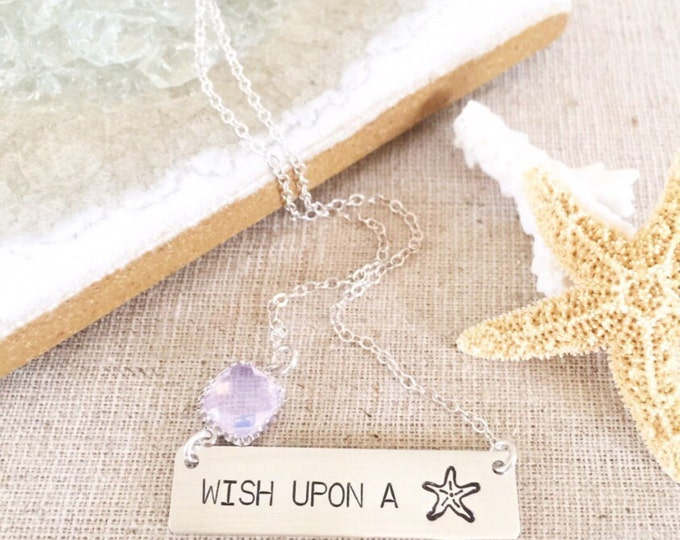 Wish Upon A Starfish Bar Necklace Sterling Silver Ocean Salty Mermaid Sea Tropical Boho Outer Banks OBX Beach