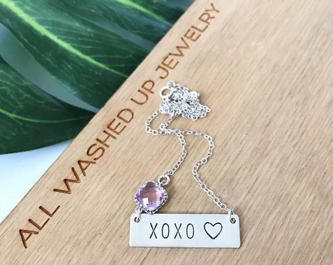 XOXO Sterling Silver Stamped Love Bar Necklace Valentine Necklace Bohemian Loved Hearts Valentines Day