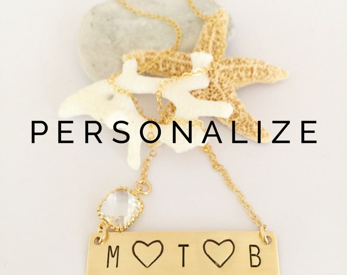 Three Letter Heart Stamped Gold Fill Initial Custom Bar Necklace Personalized Mom Gift Friend Boho Family Love Name Plate