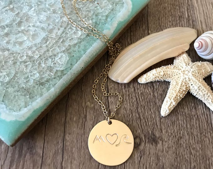 New! // Gold Filled Mountain Heart Wave Disc