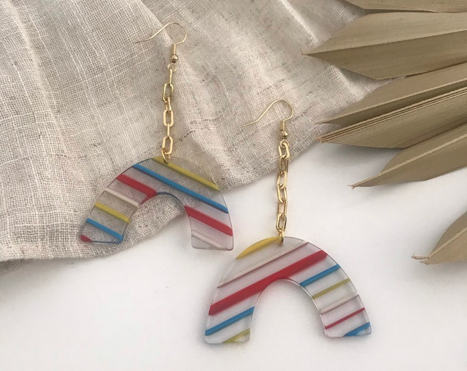 New! // Candy Stripe Acrylic Earrings