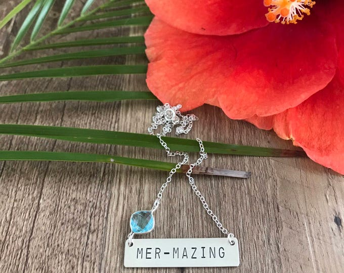 New! // Mermazing Mermaid Stamped Bar Necklace Sterling Silver