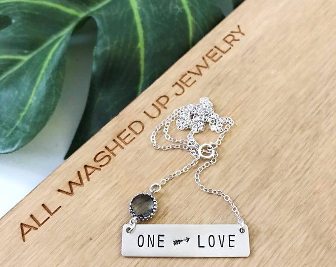One Love Bar Necklace Stamped Sterling Silver Layering Boho Nameplate Arrow Bridesmaids Custom Gift