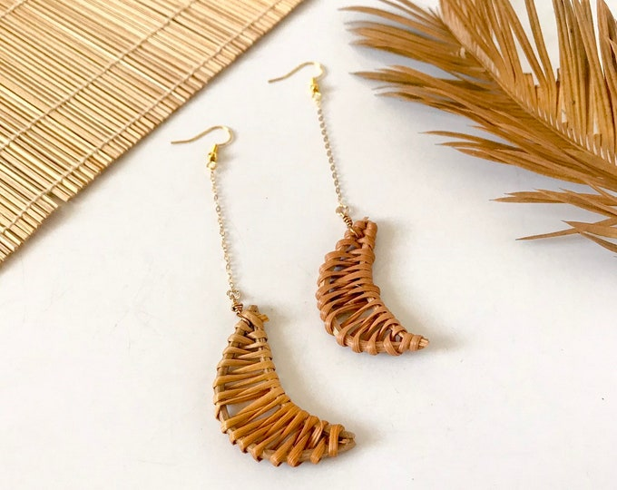 New! // Rattan Moon Dangle Earrings