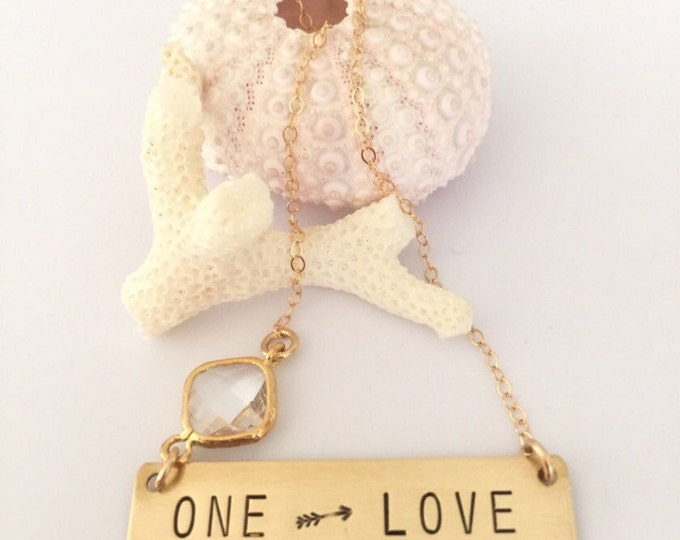ONE Love Stamped Gold Fill Bar Necklace Arrow Gift Love Gold Layering Custom Personalized