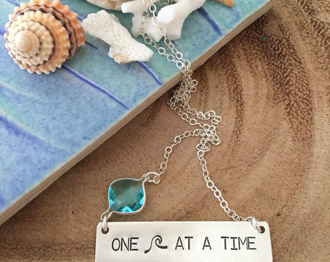One Wave At A Time Stamped Sterling Silver Bar Necklace