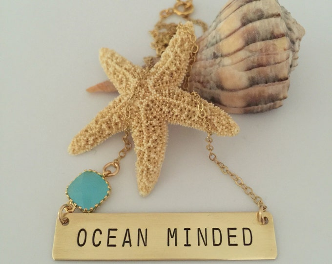 Ocean Minded Gold Fill Stamped Bar Necklace