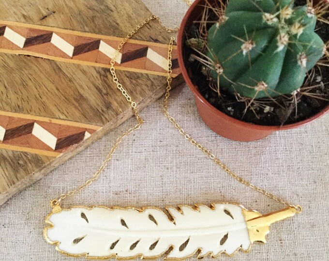New! // Gold Edged Bone Feather Necklace