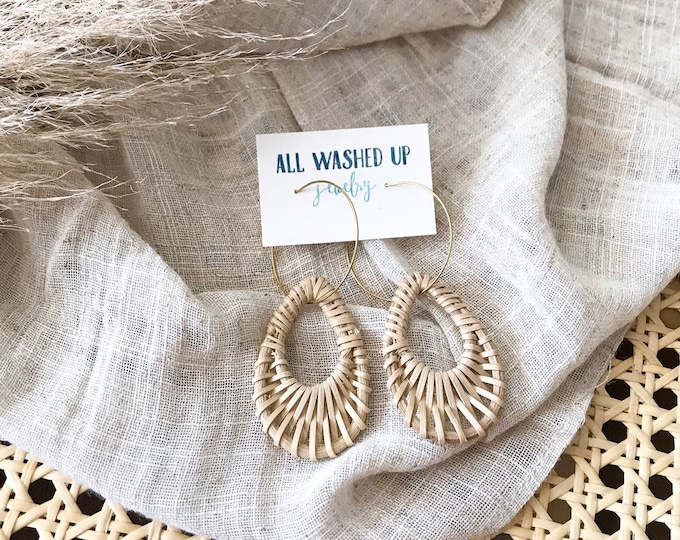 New! // Woven Rattan Hoop Earrings