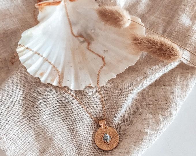 New! // 14kt Gold Filled Howlite Starburst Necklace