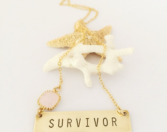 Survivor Stamped Bar Name Plate Layering Bohemian Custom Necklace Friend Gift Gold Breast Cancer Awareness Love Customizable Personalized