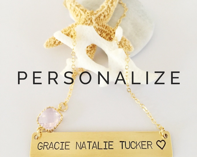 Three Name Word Heart Personalized  Gold Fill Custom Stamped Bar Name Children Layering Nameplate Necklace Mothers Day Anniversary