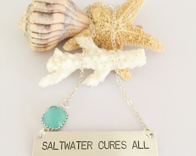 Saltwater Cures All Bar Necklace Sterling Silver Nautical Beach Ocean Bridesmaids Wedding Sea Boho Outer Banks OBX Gift Friend Love Mermaid