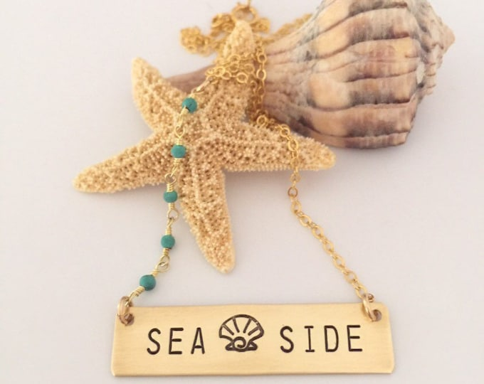 Sea Side Stamped Gold Fill Beaded Bar Necklace Sea Ocean Layering Bridesmaids Beach Wedding Boho Outer Banks Mermaid Customizable Personaliz