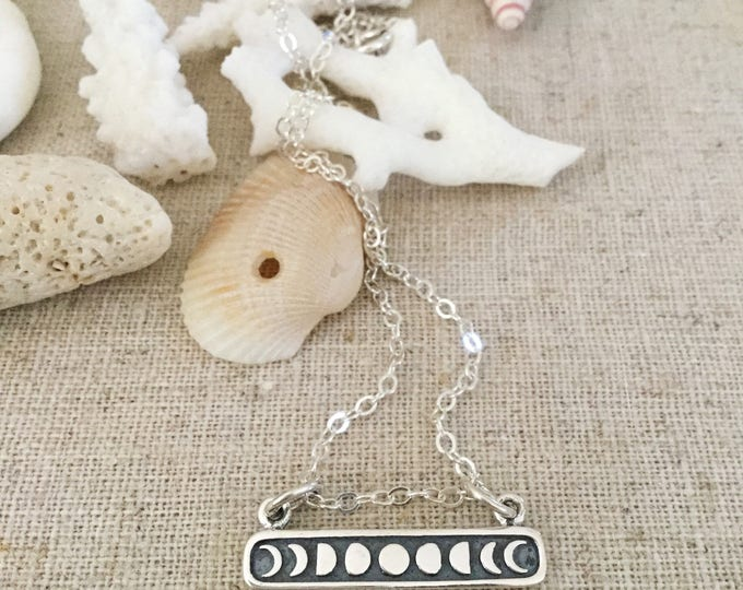 New! // Sterling Silver Moon Phase Bar Necklace