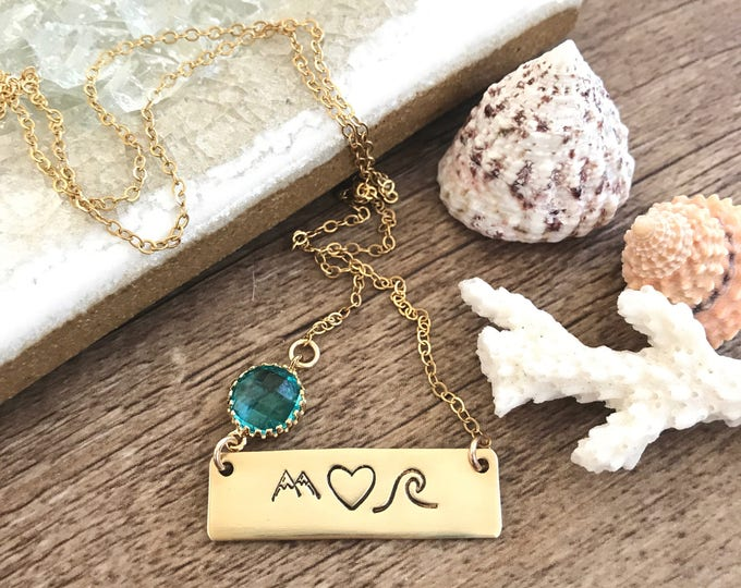 New! // Mountain Heart Wave Gold Fill Bar Necklace Ocean Sea Beach Wedding Bridesmaids Friend Gift Mermaid Water Boho Custom Banner Necklace