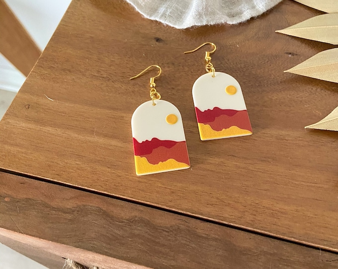 New! // Desert Acrylic Scene Earrings