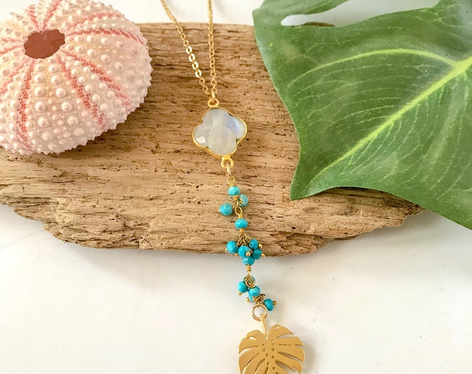 New! // Turquoise Moonstone Monstera Leaf Lariat Necklace