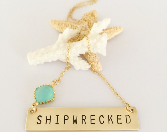 Gold Fill SHIPWRECKED Stamped Layering Nautical Beach Necklace
