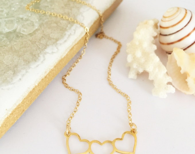 Brass Heart Bar Necklace Layering Love Bridesmaid Vday Valentines Hearts Charm