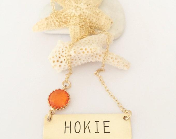 Hokie Nameplate Necklace Stamped