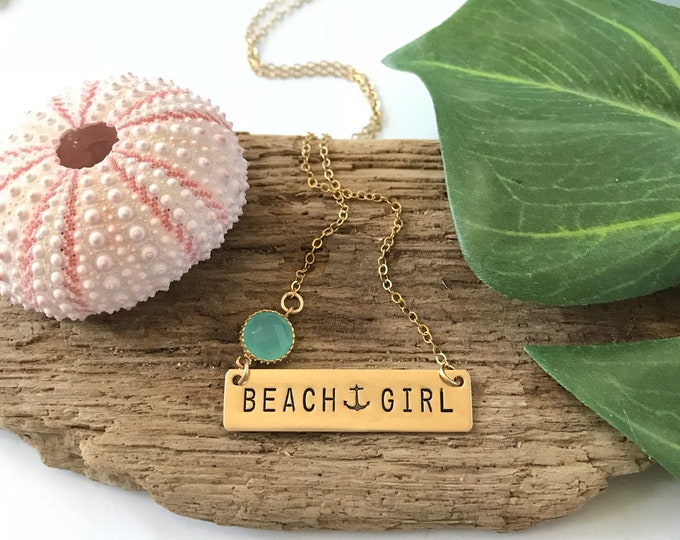 Beach Girl Stamped Gold Fill Bar Necklace