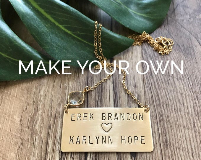 FOUR NAME Custom Stamped Bar Nameplate Layering Customizable Wedding Mothers necklace Anniversary Personalized Friend Gift Push Present