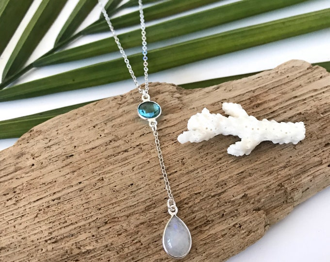 New! // Moonstone & Faceted Glass Lariat Necklace