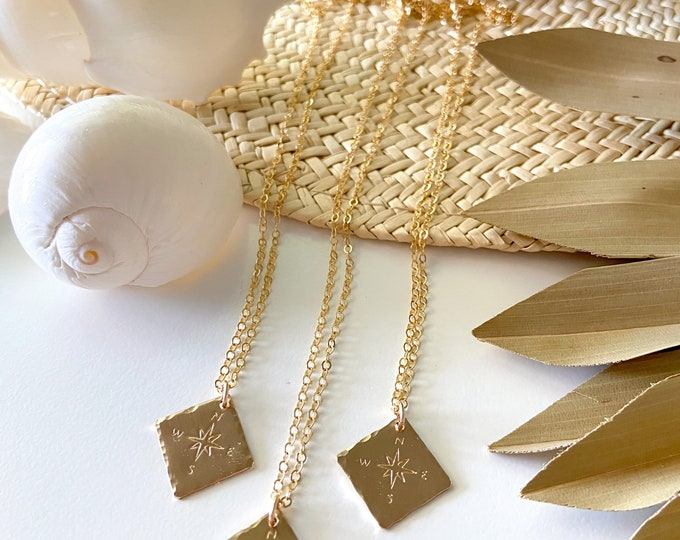 New! // Hammered Compass Necklace 14kt Gold Filled Sterling Silver