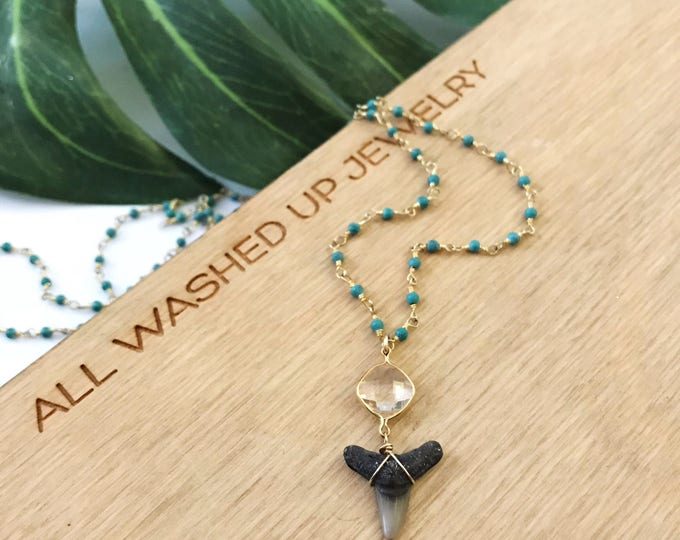 New! // Beaded Gold Fill Wire Wrapped Shark Tooth Necklace