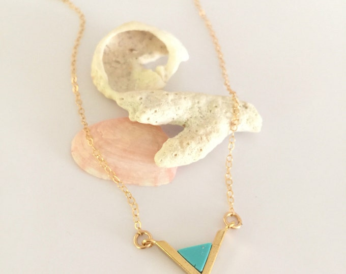 Turqouise Triangle Necklace Beach Layering Boho Ocean Vitamin Sea Bridesmaids All Washed Up Wedding Salty