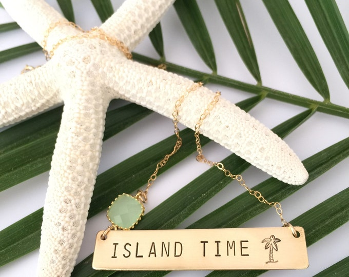 Gold Fill ISLAND TIME Stamped Bar Nameplate Layering Nautical Custom Necklace Bridesmaids OBX Outer Banks Mothers Day Beach Wedding