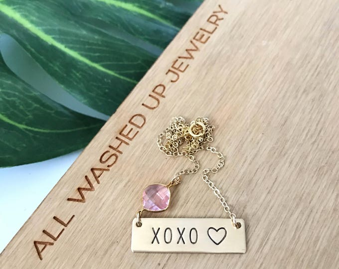 XOXO Stamped Gold Fill Nameplate Layering Bohemian Love Hearts Hugs Kisses Valentines Vday Mothers Day Bridesmaids