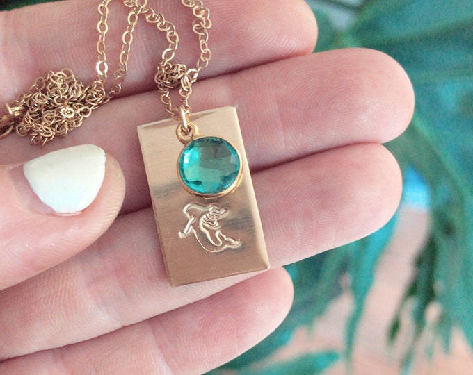 New! // Gold Fill Mermaid Tag Necklace