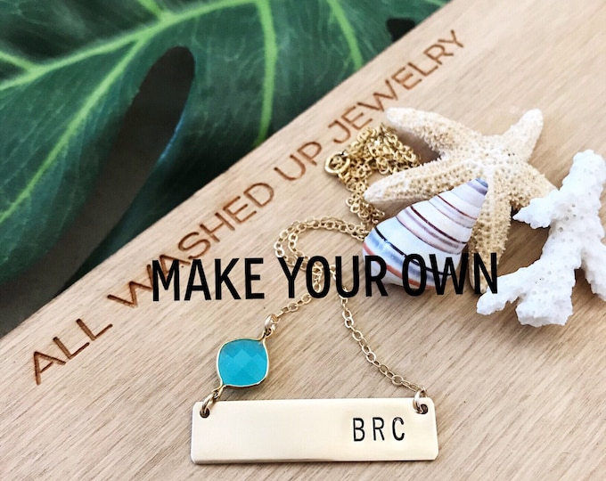 Custom Initial Stamped Gold Fill Bar Necklace Personalized Friend Gift Bridesmaids Beach Wedding Boho