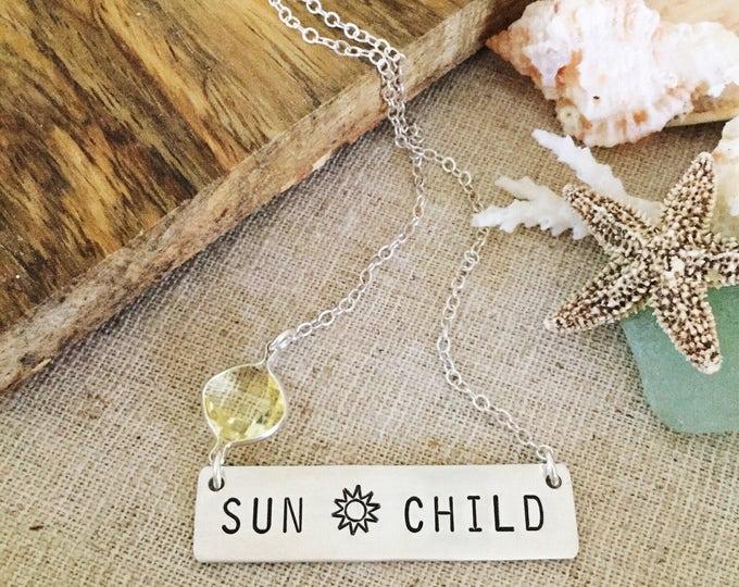 Sunchild Bar Necklace Silver Sunshine Turquoise Beach Ocean Sea Friend Gift Sun Sunny U R My Sunshine