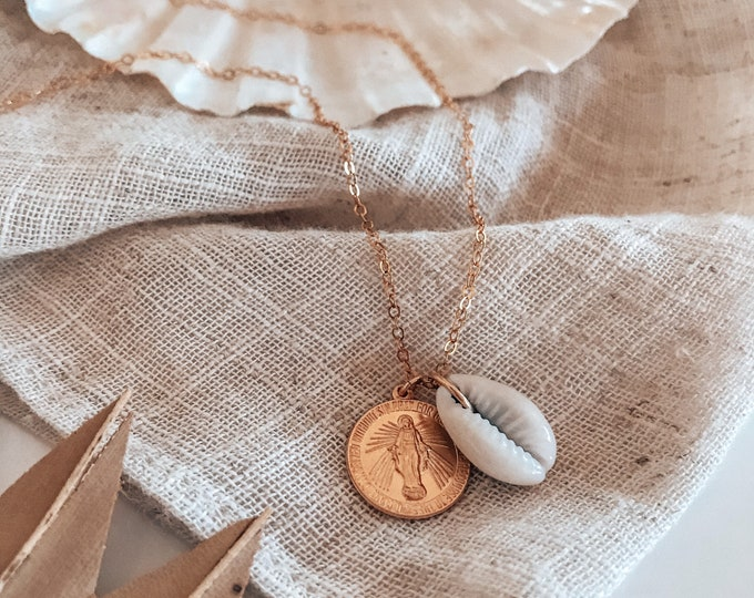New! // 14kt Gold Filled Saint Mary Shell Necklace